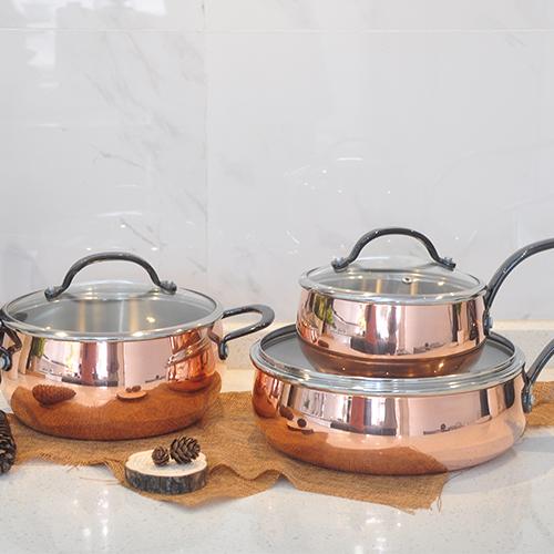 Tri-ply Copper Clad Cookware, Apple shape Cookware Set