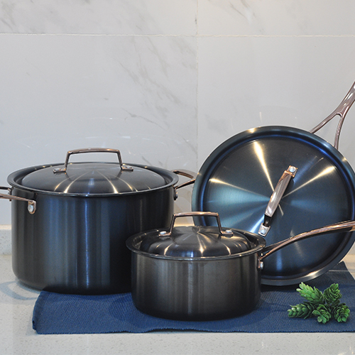Tri-ply SS clad Cookware Set, Titanium-plated in Black