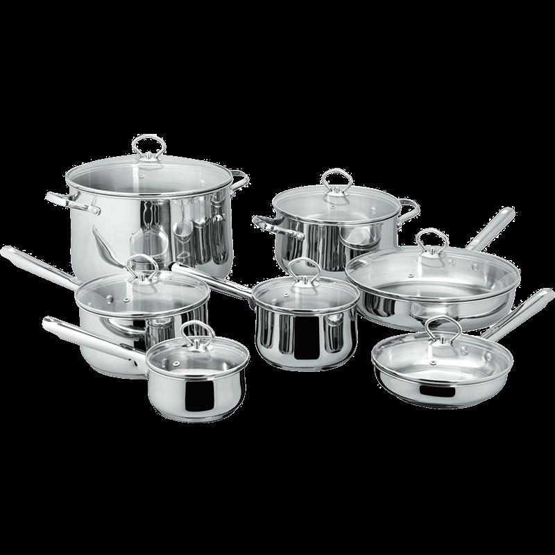 Stainless Steel 14-Piece Cookware Set, Belly shape cookwar set