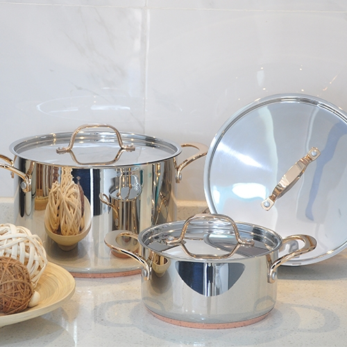SS Cookware with copper bottom, Golden-plated for the handle
