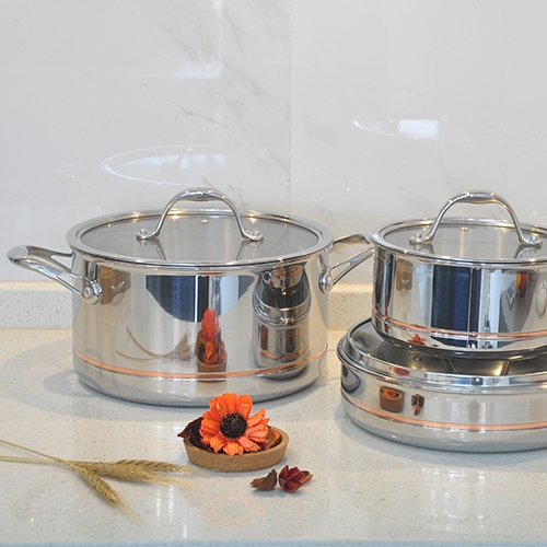 5-ply SS Clad with Copper Core Cookware Set