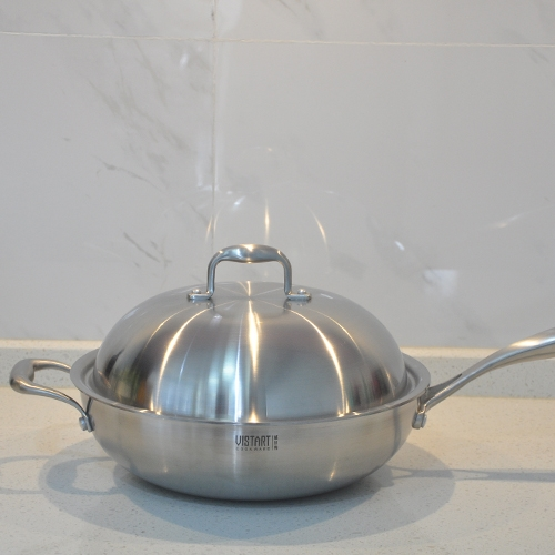 Tri-ply SS clad Wok, Chinese Wok, Deep Saute pan with lid
